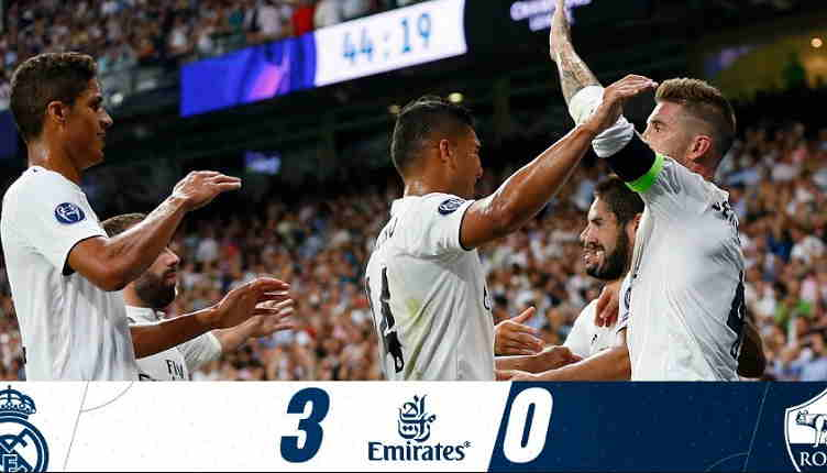 Hasil Real Madrid vs AS Roma Skor Akhir 3-0