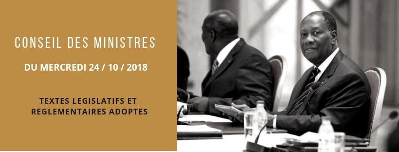 Projets de lois et de décrets récemment adoptés en Conseil des Ministres du 24/10/2018