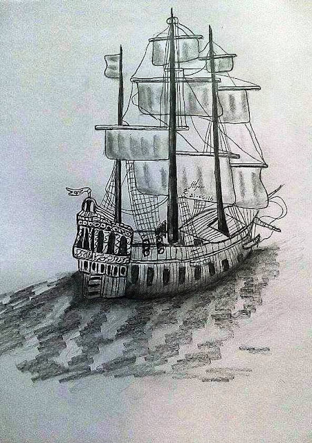 ORIGINAL DRAWING FOR SALE - BOAT 3D