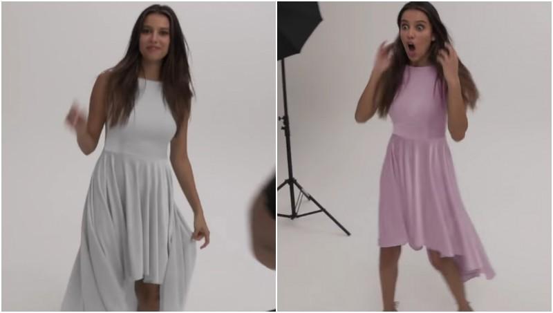 Dress Showpo berubah dari putih ke pink