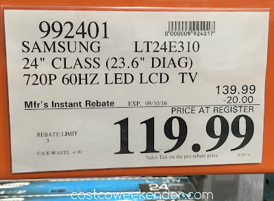 Deal for the Samsung LT24E310 24 inch HDTV monitor combo at Costco