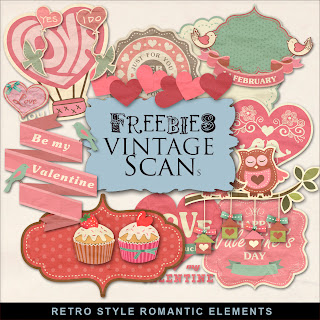 Freebies Kit of Retro Style Romantic Elements