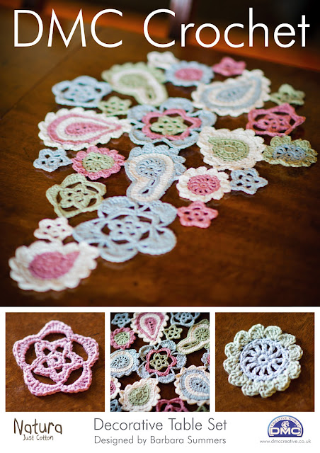 how to crochet, crochet patterns table set, coasters, table centre,