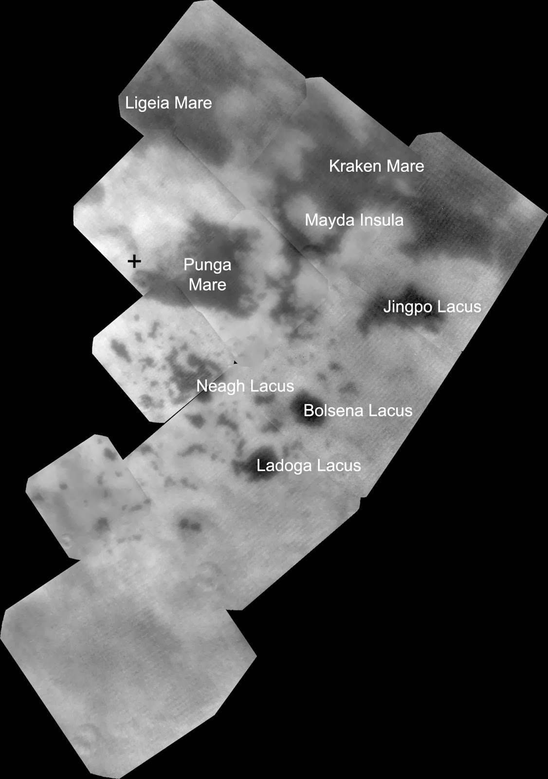 Infrared observations of Titan's northern lakes. The cross marks Titan's geographic north pole.