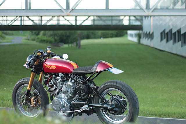 Metric masterpiece virago vx750 cafe racer return of for Garage honda poitiers