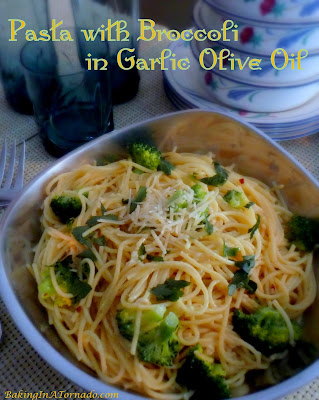Pasta with Broccoli in Garlic Olive Oil is a fast satisfying dinner. Hearty and flavorful, you won't even miss the meat.| recipe developed by www.BakingInATornado.com | #recipe #dinner