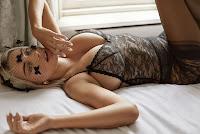 Caroline Vreeland shows big breasts wearing Agent Provocateur lingerie