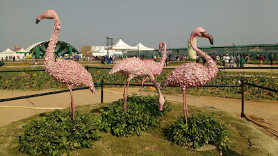 flamingo flower bird statue