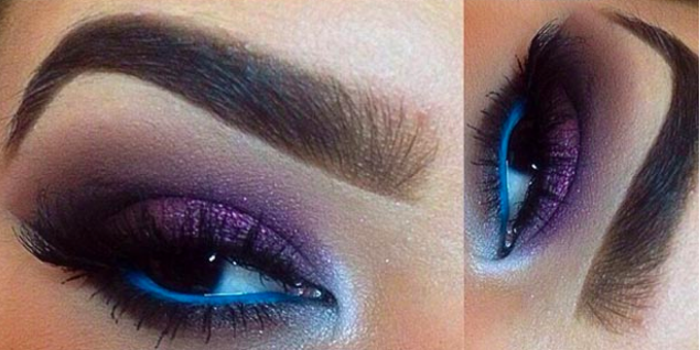 Purple and Blue Eye Makeup for Brown Eyes, Brown Eye Makeup
