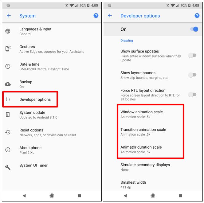 Opzioni sviluppatore android