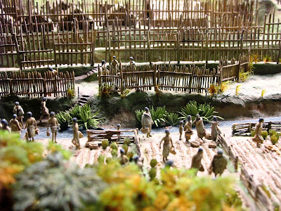 Diorama showing the vegetable gardens of Turuturu Mokai pa.