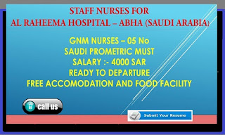 Urgent Requirement for GNM Nurses Al Raheema hospital in Aabha - Saudi