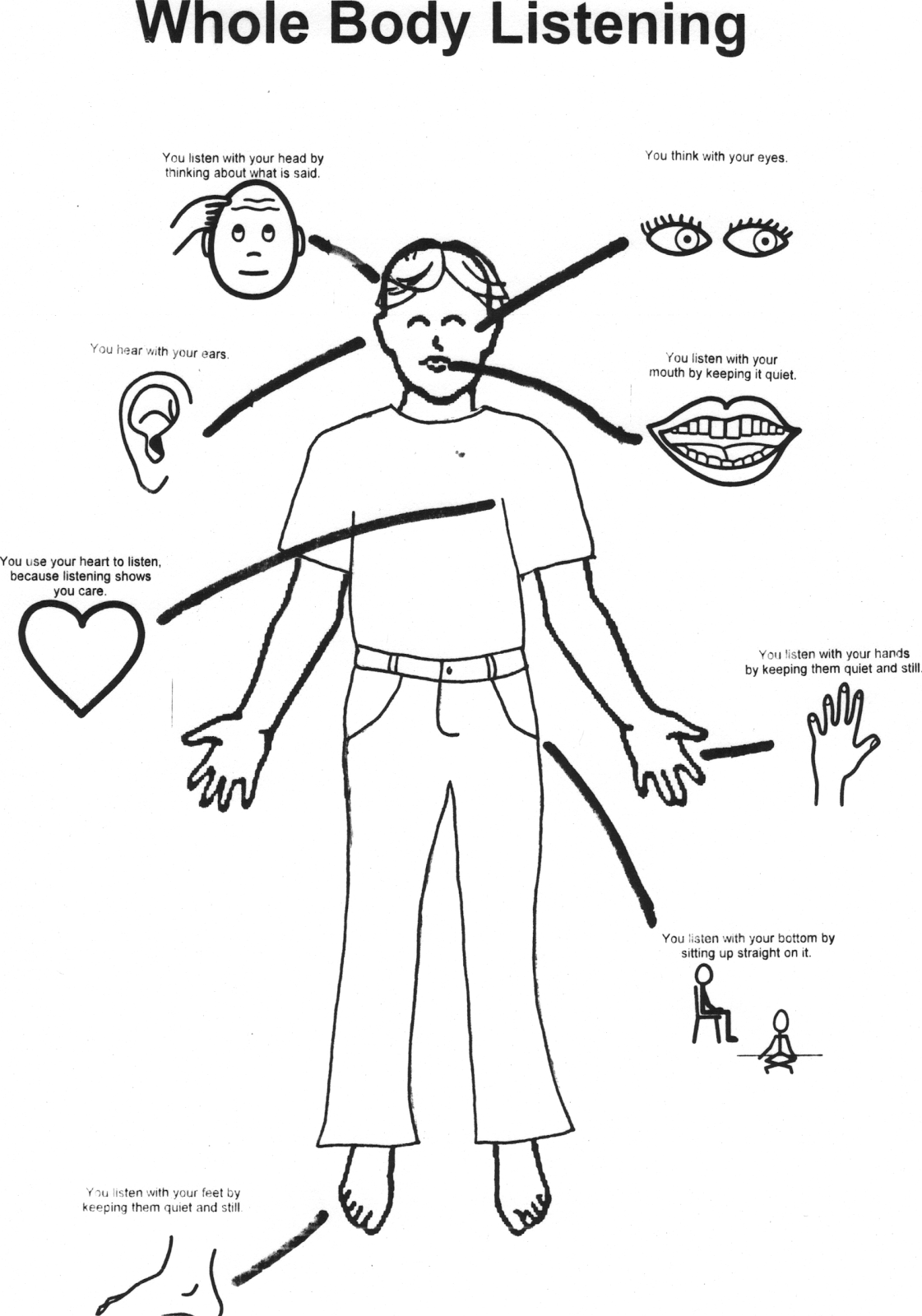 whole body listening coloring pages - photo#9