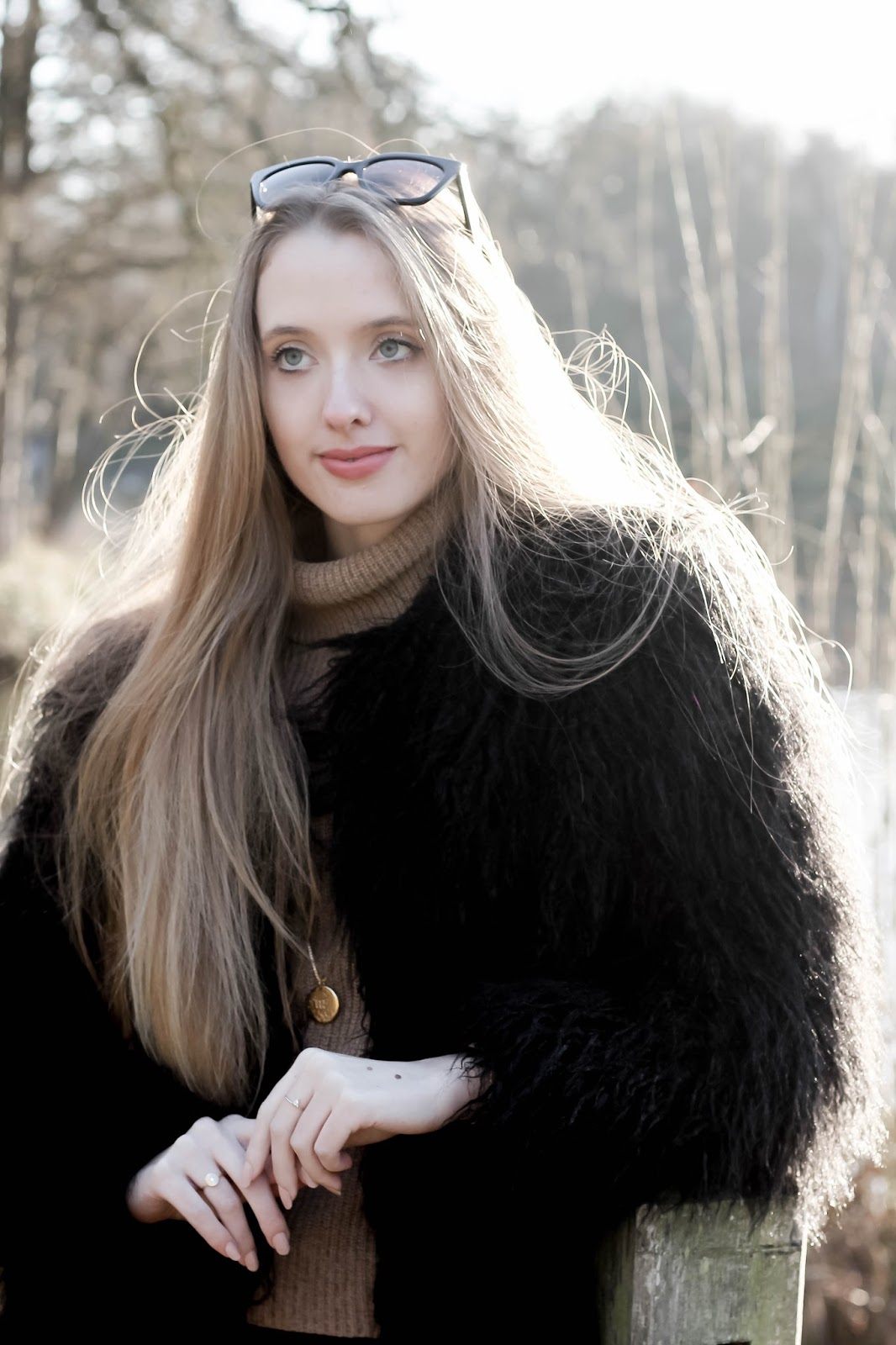 Faux fur fluffy black oversized coat