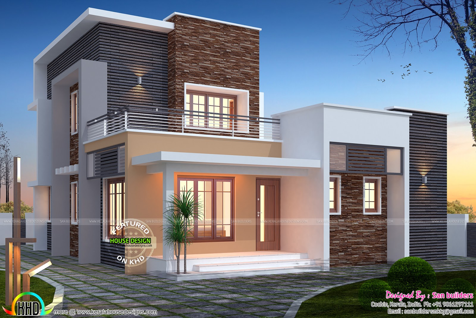 3 bedroom flat roof 1516 sq ft home kerala home design for Flat roof elevation