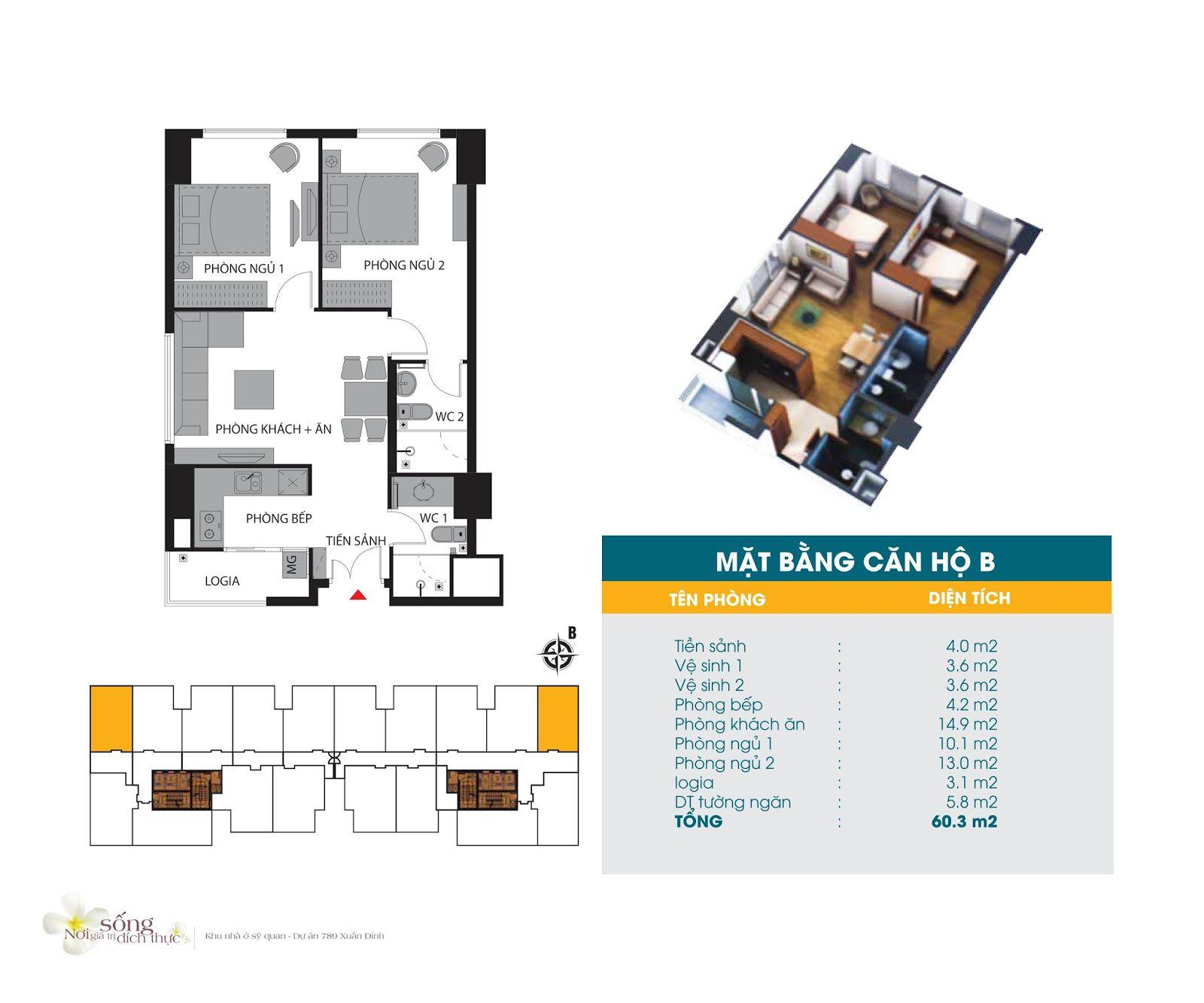 Căn hộ 60,3 m2