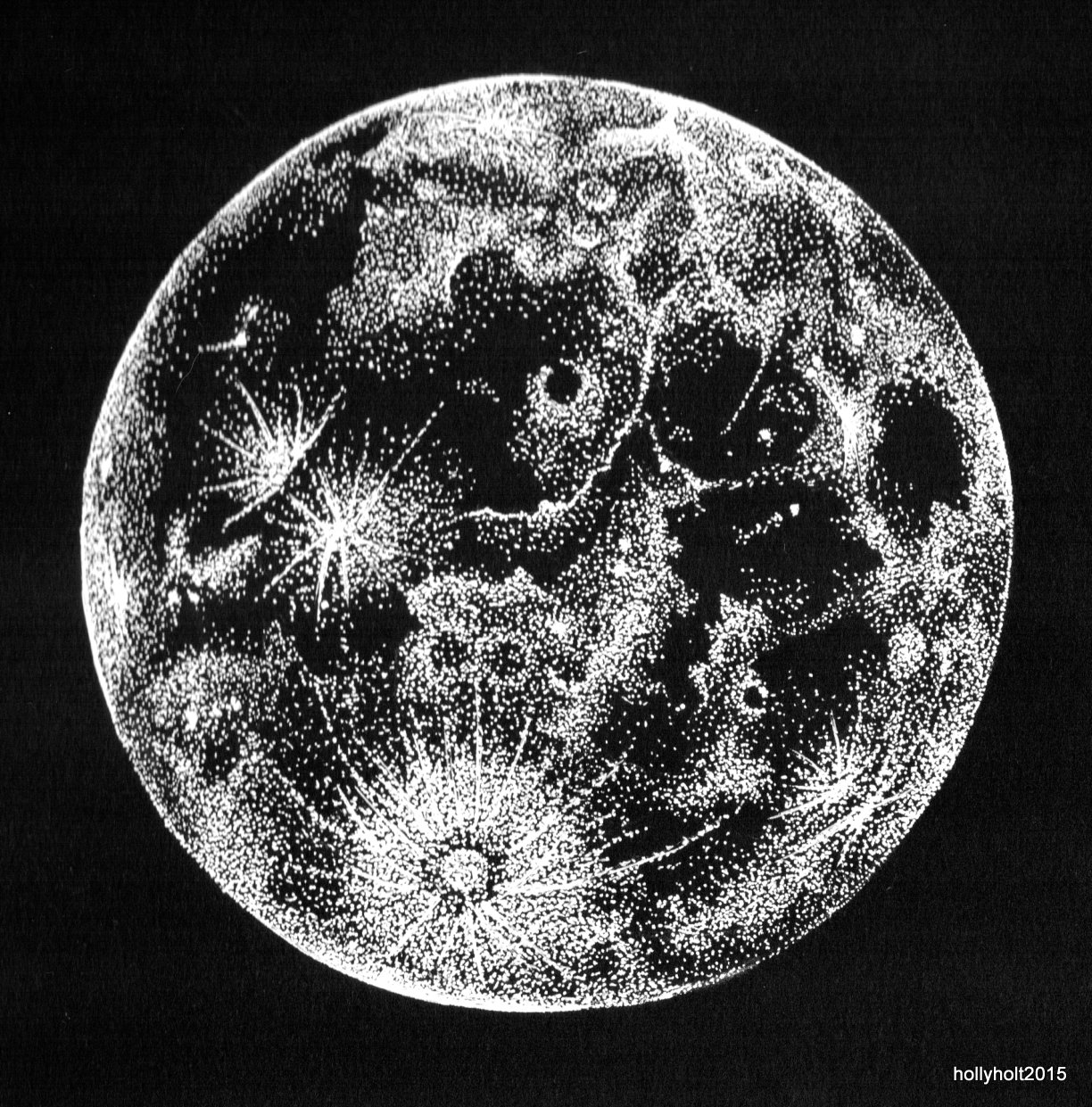 Full Moon Drawing Black And White For Illustrative Purposes Only October 2015