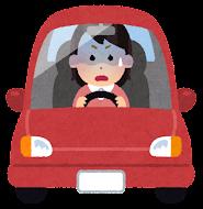 運転している女性のイラスト(ショック)
