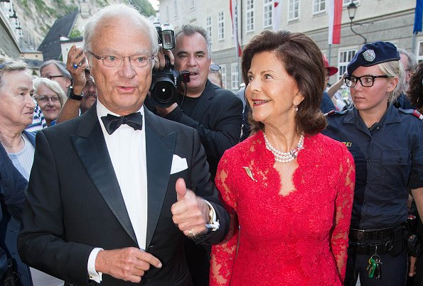 Queen Silvia of Sweden visiting the Opera Manon Lescaut by Giacomo Puccini during the Salzburg Festival in Salzburgi style, lace dress, fahions
