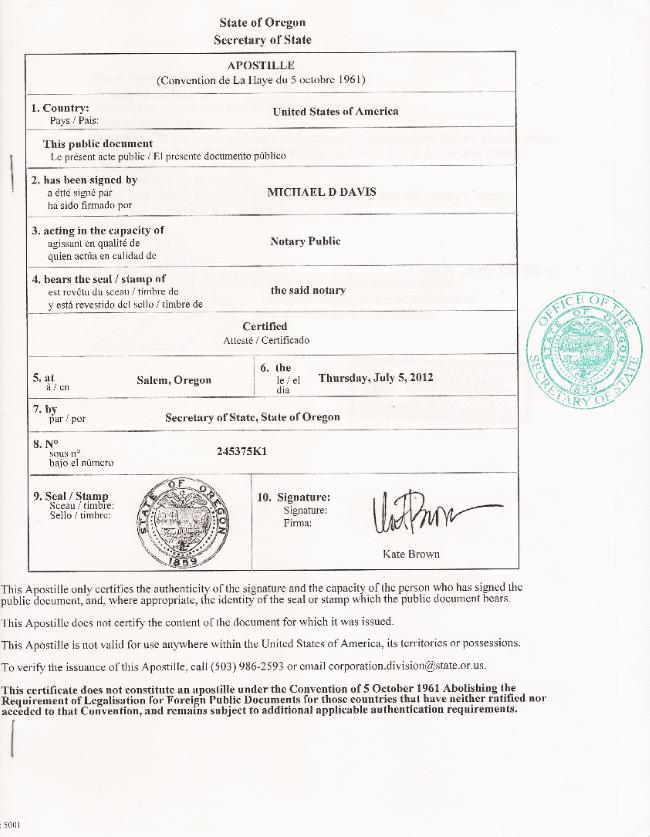 Diploma: Apostilled Diploma