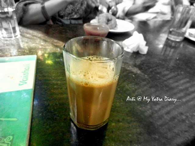 Typical south Indian coffee at Vaishali Restaurant in Pune, Maharashtra