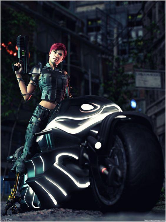 Cyberpunk Moto Girl by Sedorrr