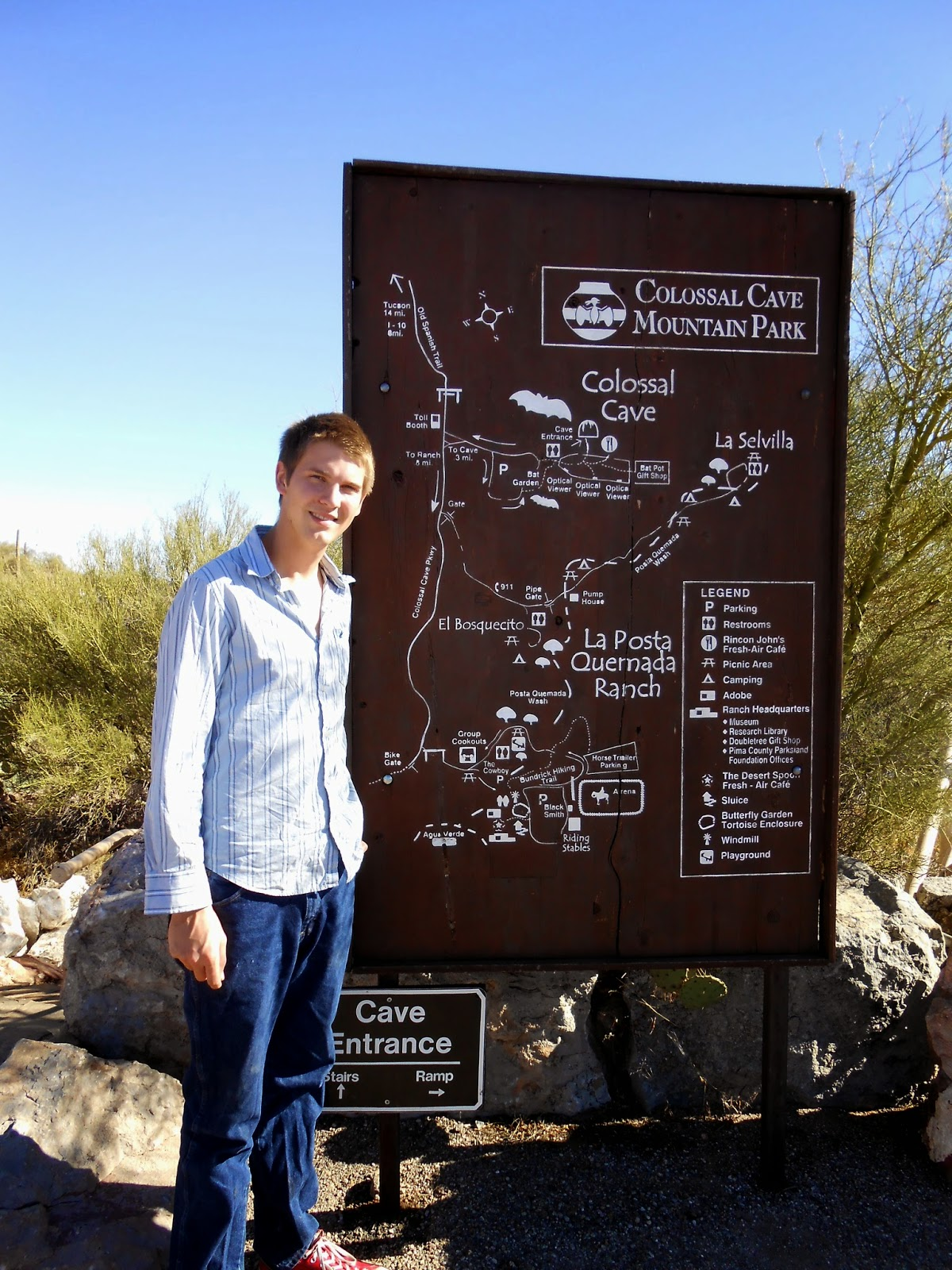 map of colossal cave mountain park tucson arizona