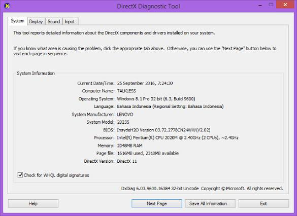 3 Cara Melihat Seri Tipe Laptop dengan DirectX