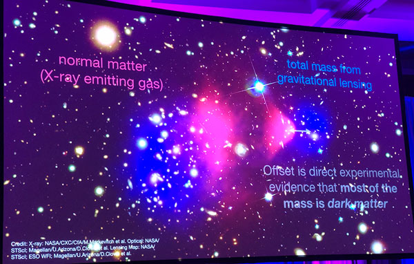 X-ray analysis shows distinct regions of dark matter and normal matter in Bullet Cluster  (Source: Ryan Hickox, Dartmouth, at 233rd AAS Meeting)