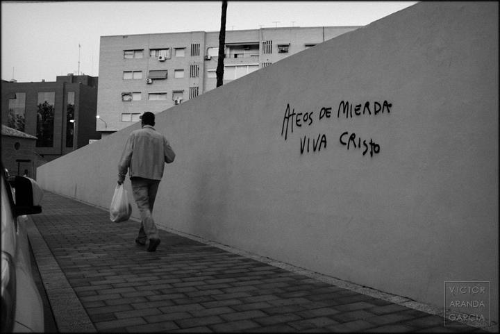 fotografia, Murcia, Arriba Extraña, pintada, ateos