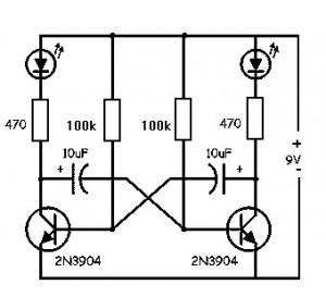 Free Circuit Diagrams: Flip Flop LED