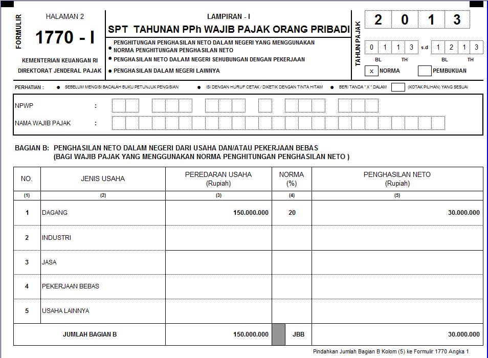 Formulir Spt Tahunan Pph Orang Pribadi 1770 Tahun 2013 Excel Catatan Ekstens
