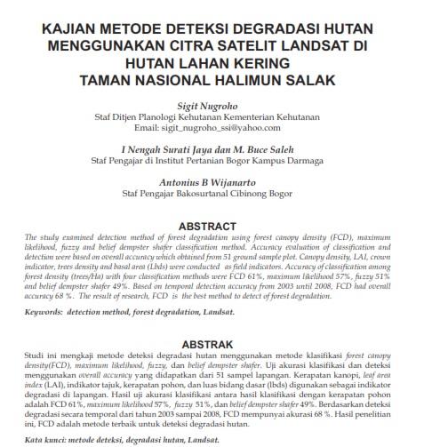 Kajian Metode Deteksi Degradasi Hutan Menggunakan Citra Satelit Landsat [Paper]