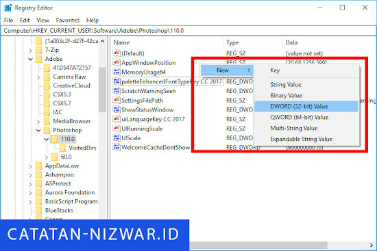 Cara membuat value DWORD di Registry Editor - Catatan Nizwar ID