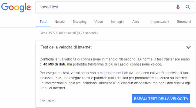 Speed test nella ricerca Google