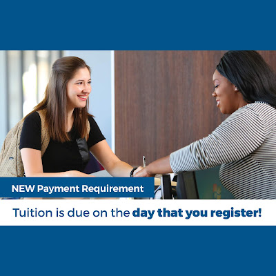 Photo of a student registering with a college staffer. Text: New Payment Requirement: Tuition is due on the day that you register