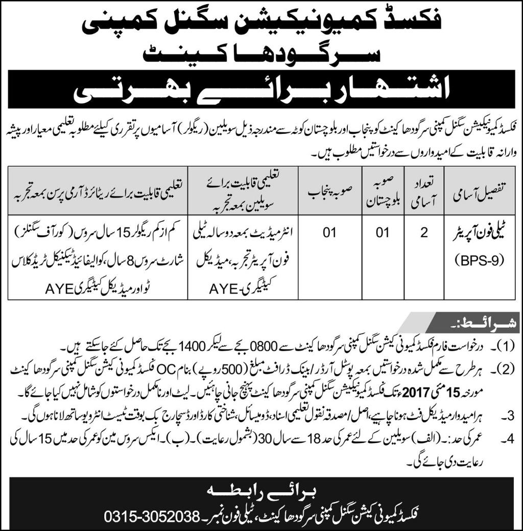 JObs in Fixed Communication Signal Company Sargodha Cantt 25 April 2017