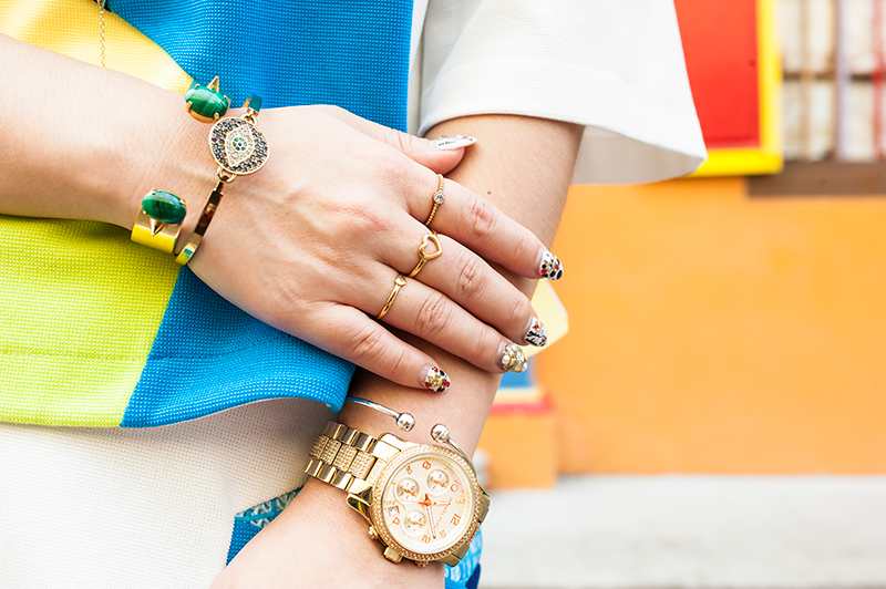 Crystal Phuong- Singapore Fashion Blog- Color block and gold jewelry