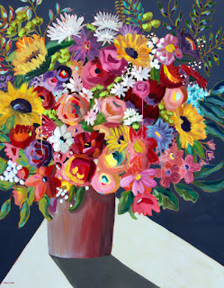 Floral painting large mixed media by artist Merrill Weber 48 x 60-inches