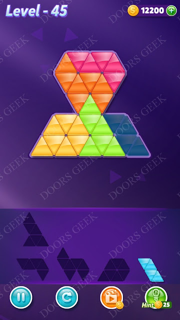 Block! Triangle Puzzle 5 Mania Level 45 Solution, Cheats, Walkthrough for Android, iPhone, iPad and iPod