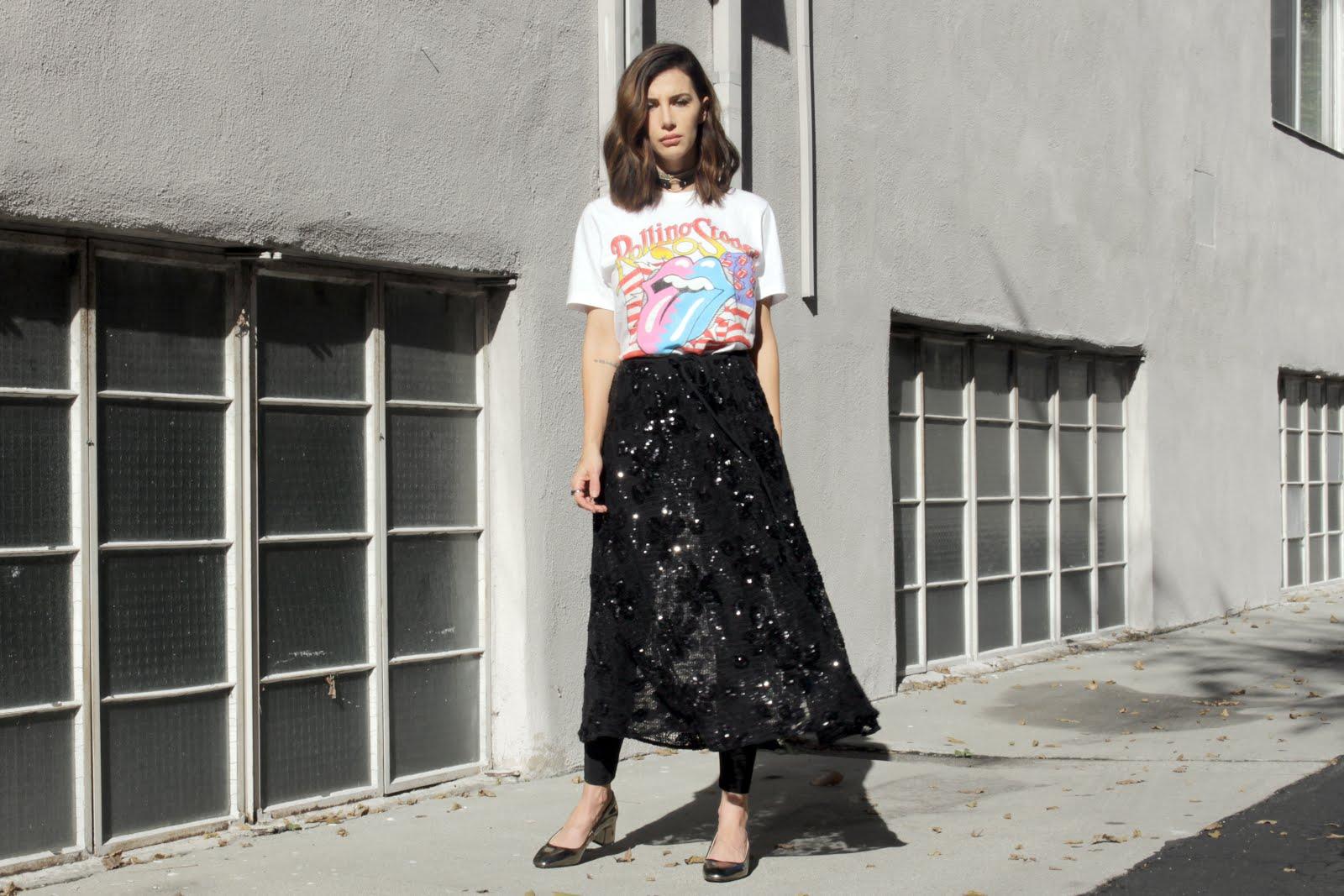 skirt over pants street style