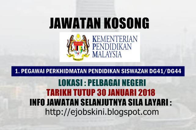 Jawatan Kosong Kementerian Pendidikan Malaysia Moe 30 Januari 2018