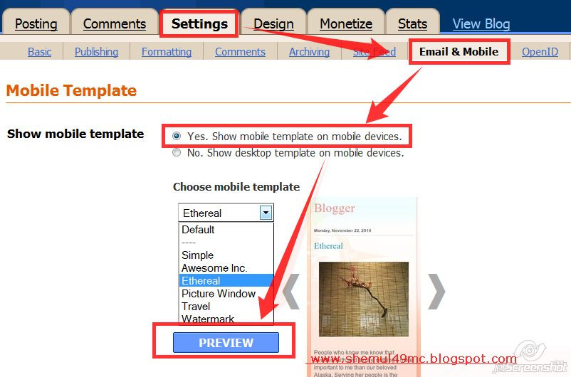 How to activate mobile template for your blogger blog new for Activation email template