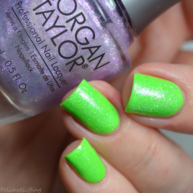 shimmer top coat over neon green nail polish