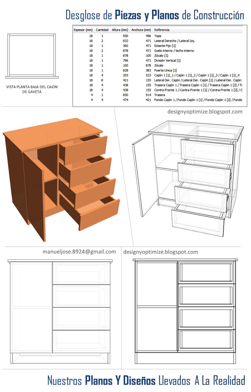 Dise o de muebles madera construir closet o armario for Planos de bajo mesada de melamina