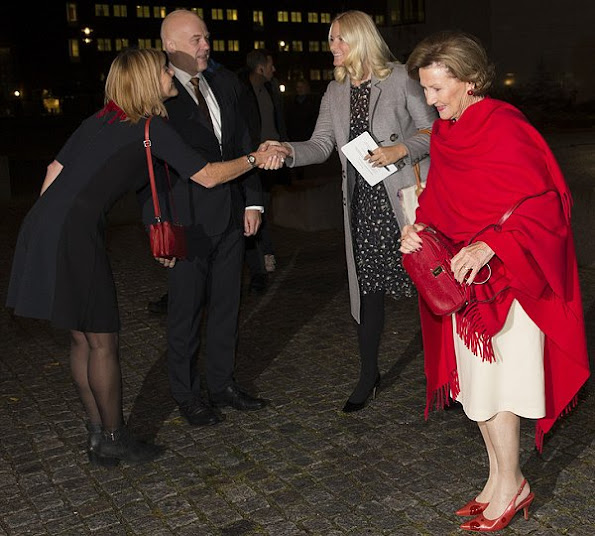 Crown Princess Mette-Marit Style, wore Valentino Print Dress - Spring 2013 Ready-to-Wear and Gianvito Rossi Pumps