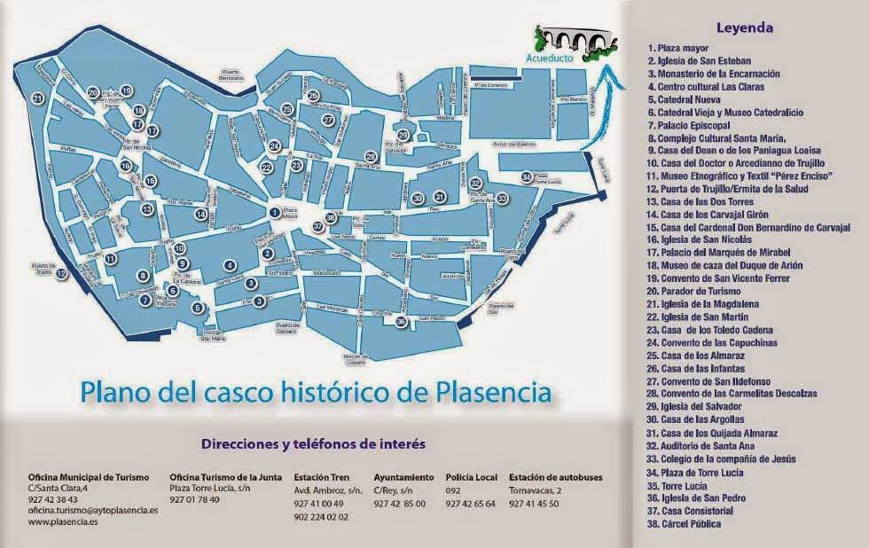 Mapa turístico de Plasencia.