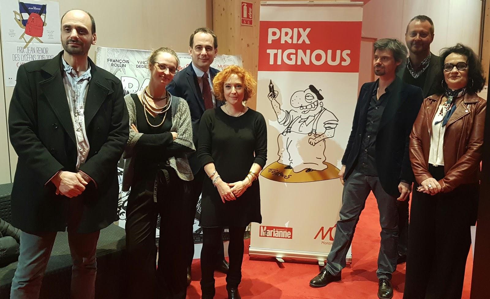 Le Prix Tignous : de gauche à droitele dessinateur Gros, Camille Besse, Patrice Bessac, Chloé Verlhac, Thierry Garance, Joseph Macé-Scaron, Alexie Lorca.