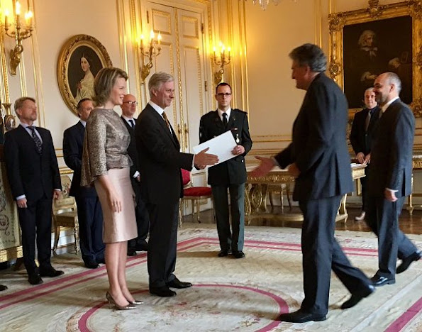 Queen Mathilde and King Philippe held a royal reception for newly appointed suppliers at the Royal Palace
