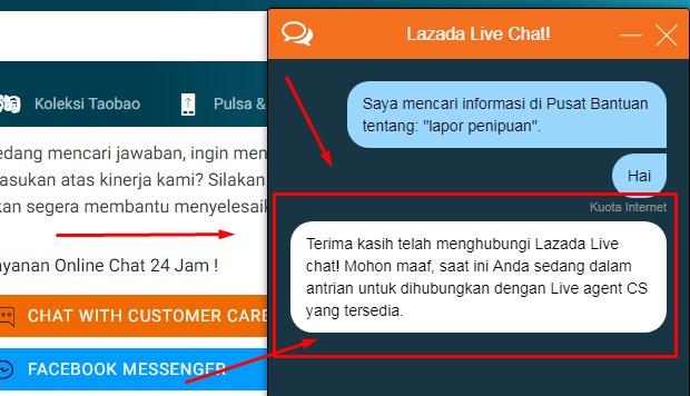 Customer Service Lazada Via Live Chatting Terbaru 2019 6